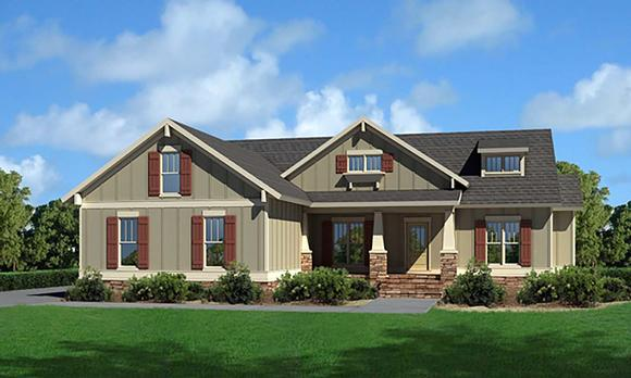 Cottage, Craftsman, Narrow Lot, One-Story, Traditional House Plan 80257 with 3 Beds, 2 Baths, 2 Car Garage Elevation
