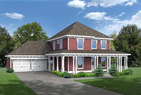 Country, Craftsman, Narrow Lot House Plan 80262 with 4 Beds, 3 Baths, 2 Car Garage Elevation