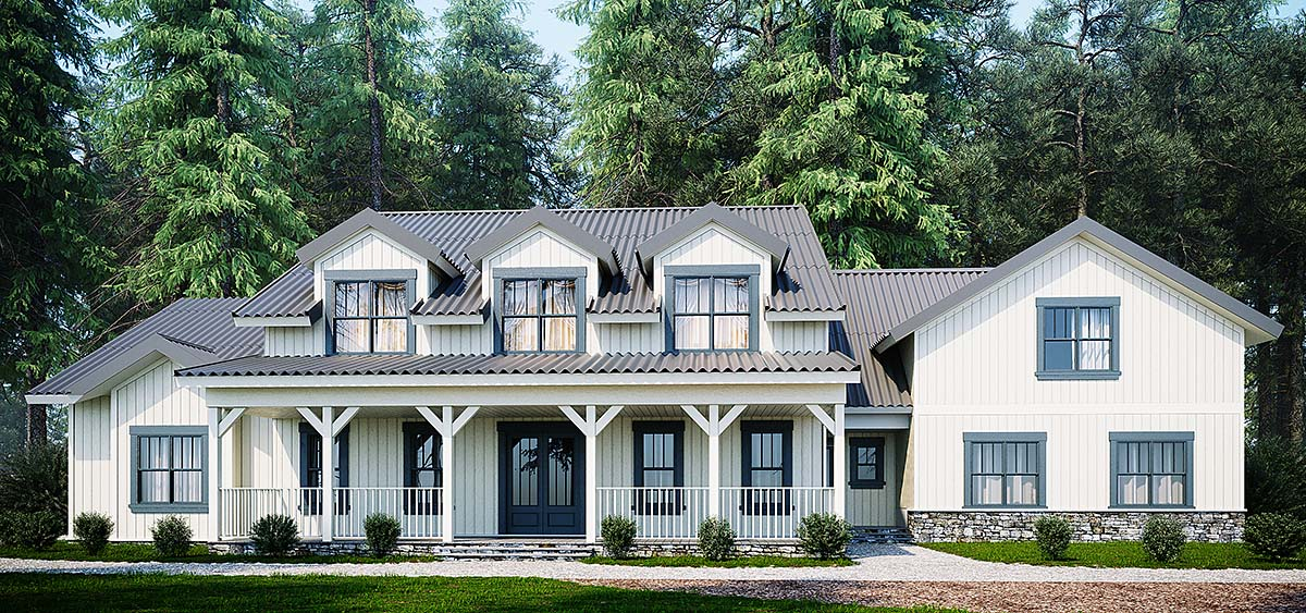 Country, Farmhouse, Southern House Plan 80268 with 4 Beds, 4 Baths, 2 Car Garage Elevation