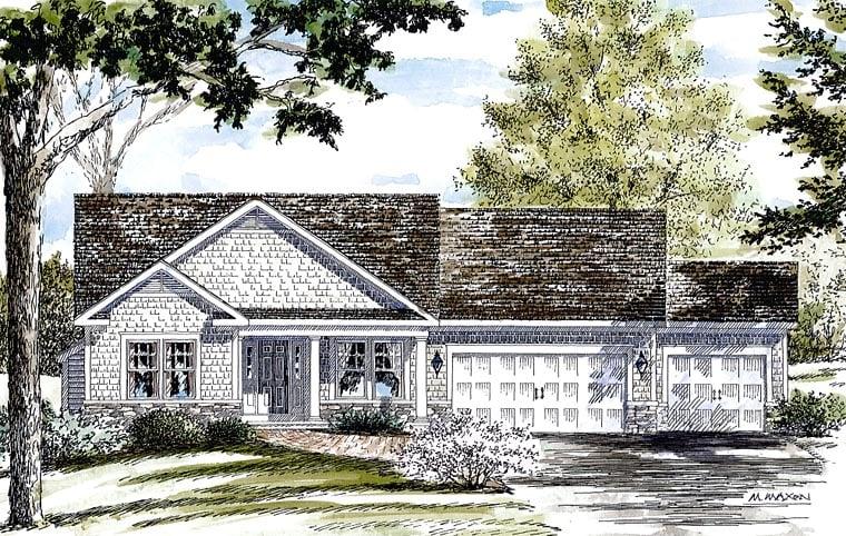 Cottage, Craftsman, Ranch House Plan 80313 with 3 Beds, 2 Baths, 3 Car Garage Elevation