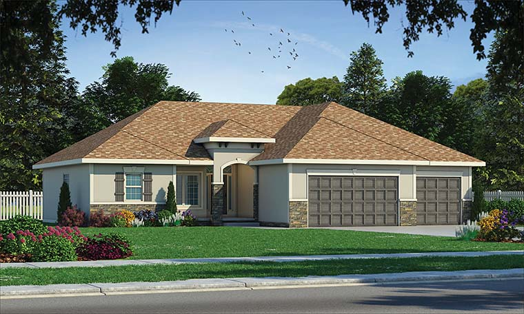 Tuscan House Plan 80401 with 3 Beds, 2 Baths, 3 Car Garage Picture 1