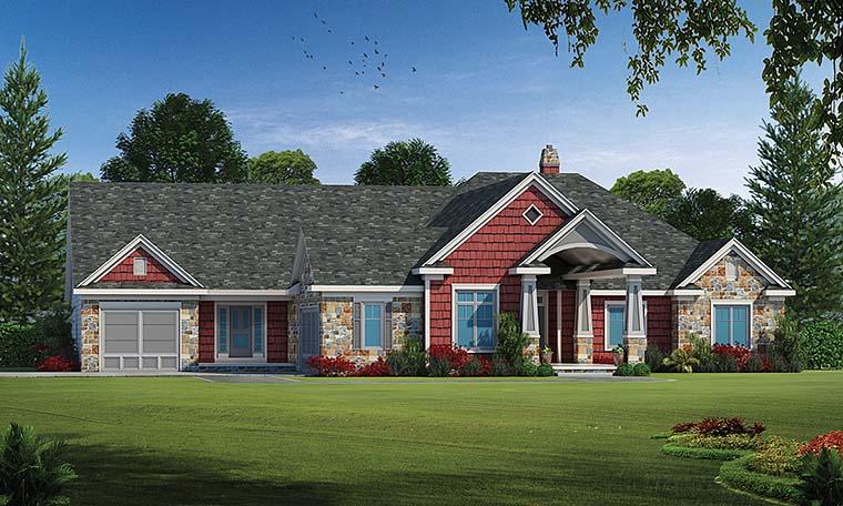 Craftsman House Plan 80403 with 5 Beds, 4 Baths, 3 Car Garage Elevation