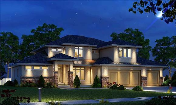 Contemporary, Tuscan House Plan 80411 with 4 Beds, 4 Baths, 3 Car Garage Elevation