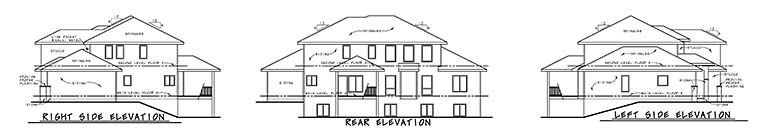 Contemporary, Tuscan House Plan 80411 with 4 Beds, 4 Baths, 3 Car Garage Rear Elevation