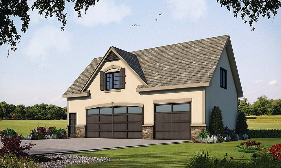 French Country 3 Car Garage Apartment Plan 80427 with 1 Beds, 1 Baths Elevation