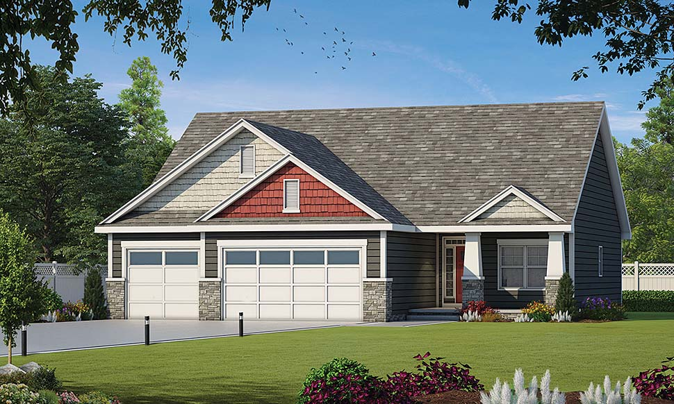 Craftsman Style House Plan 80437 with 3 Bed, 2 Bath, 3 Car Garage on