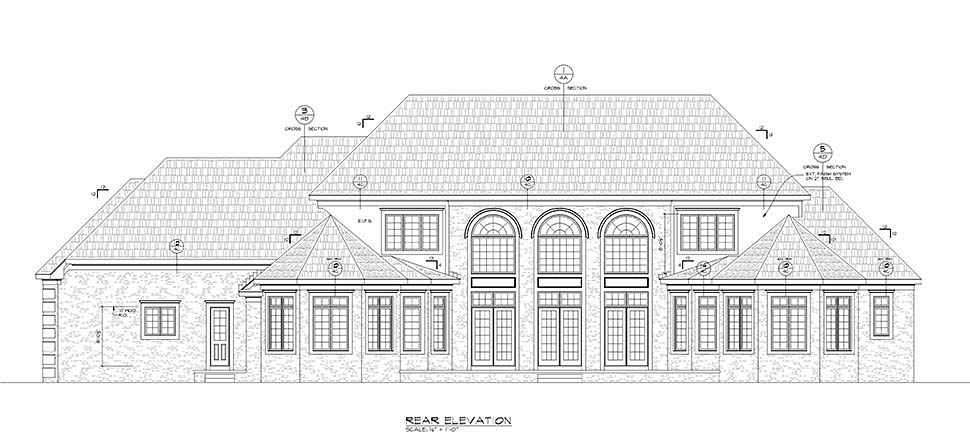 European House Plan 80453 with 5 Beds, 5 Baths, 3 Car Garage Rear Elevation