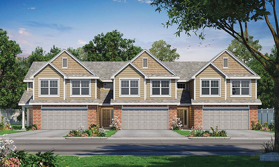 Craftsman, Traditional Multi-Family Plan 80460 with 9 Beds, 9 Baths, 2 Car Garage Elevation