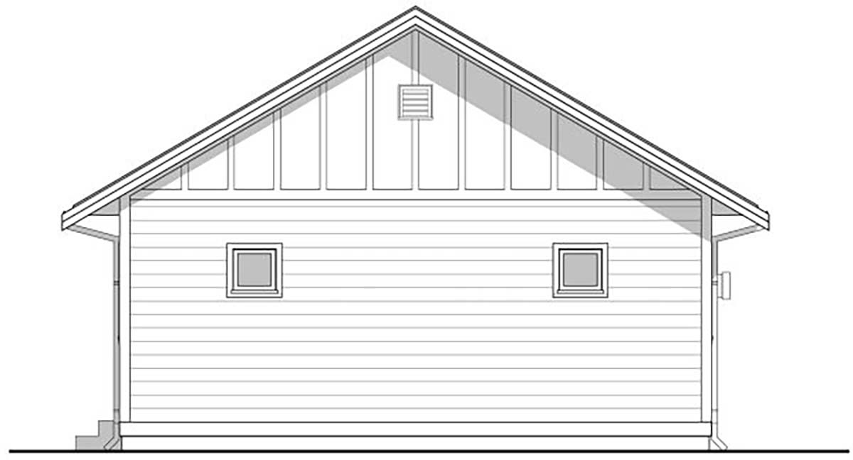 Cabin, Cottage House Plan 80500 with 3 Beds, 2 Baths Rear Elevation