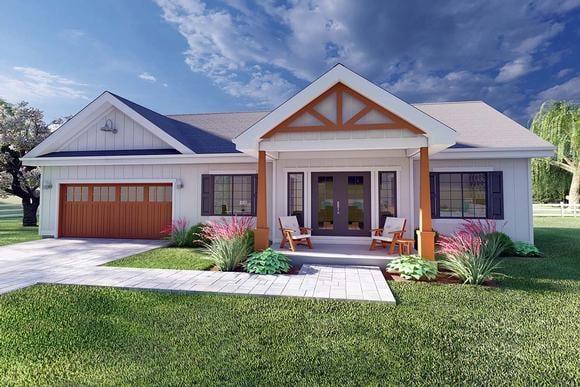 Bungalow, Cottage, Farmhouse, Ranch House Plan 80509 with 2 Beds, 2 Baths, 2 Car Garage Elevation