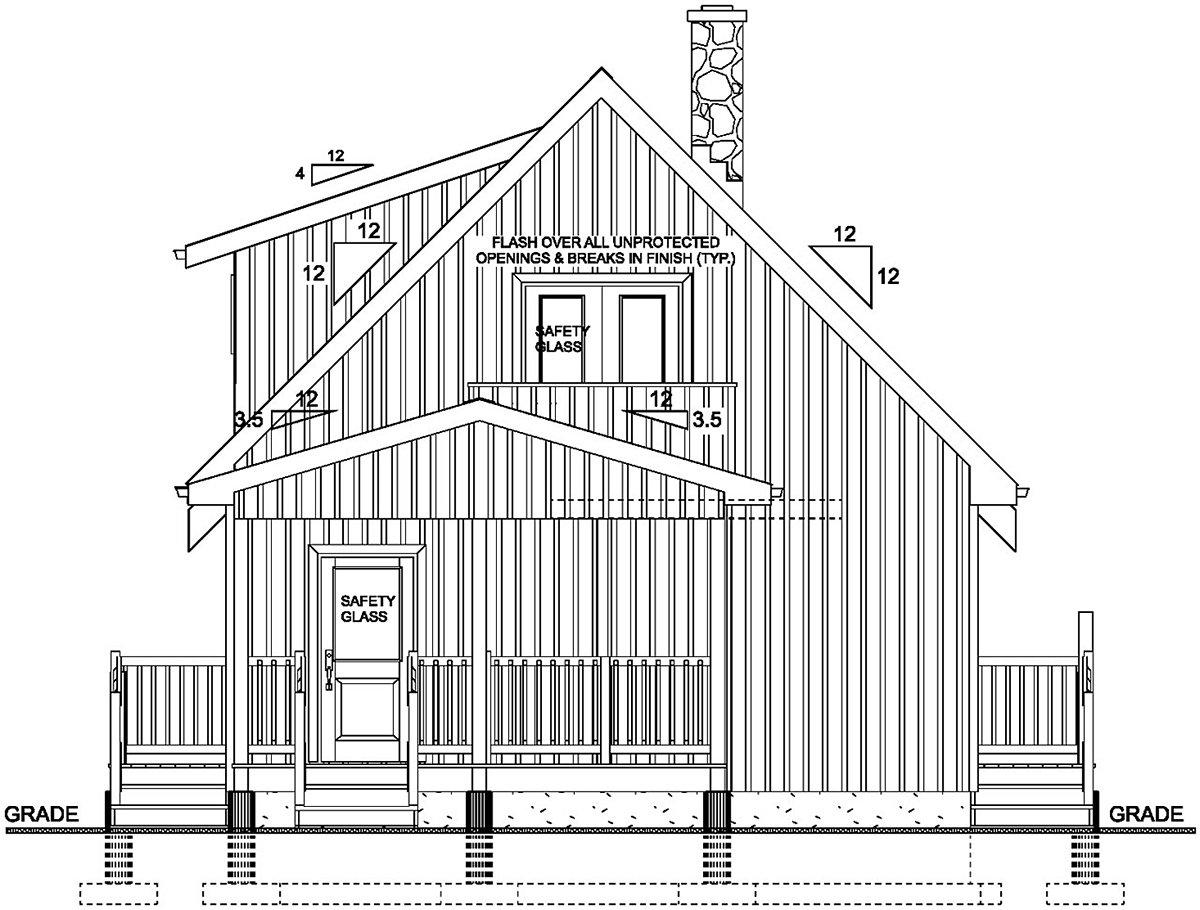 A-Frame Cabin Rear Elevation of Plan 80518