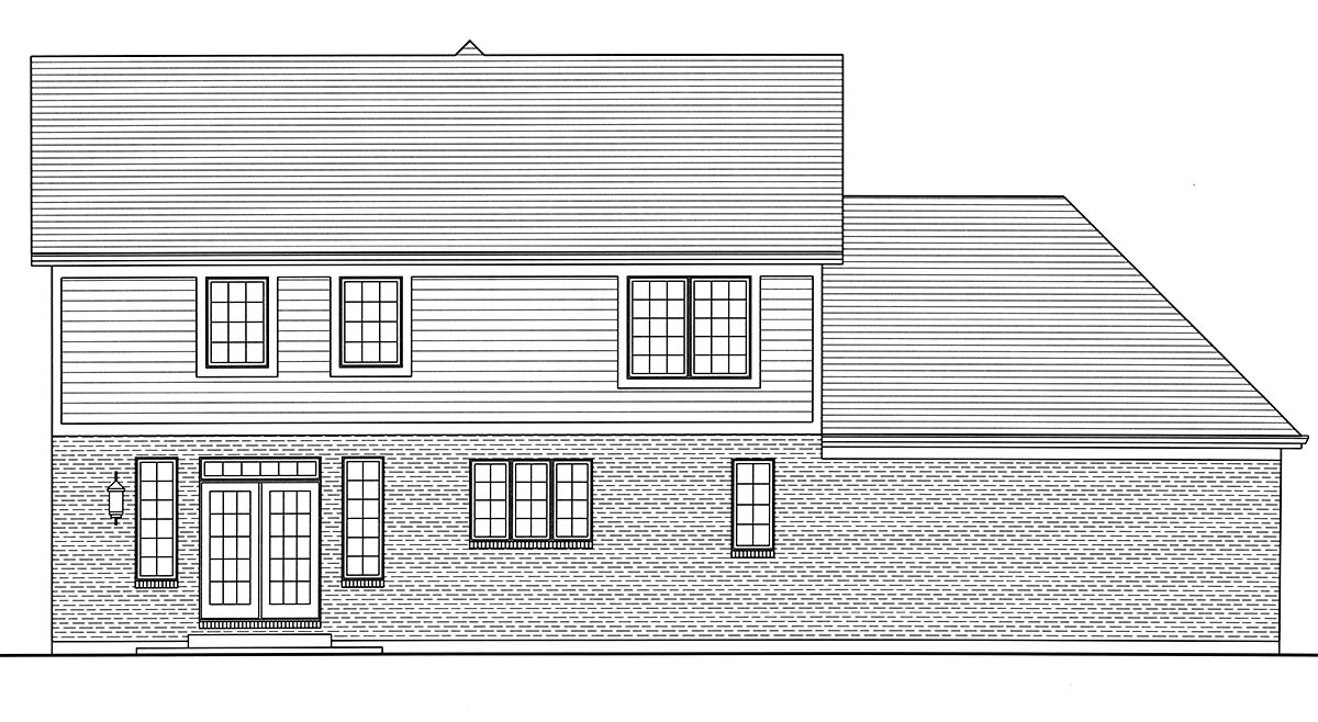 Country, Farmhouse, Traditional House Plan 80603 with 4 Beds, 3 Baths, 2 Car Garage Rear Elevation
