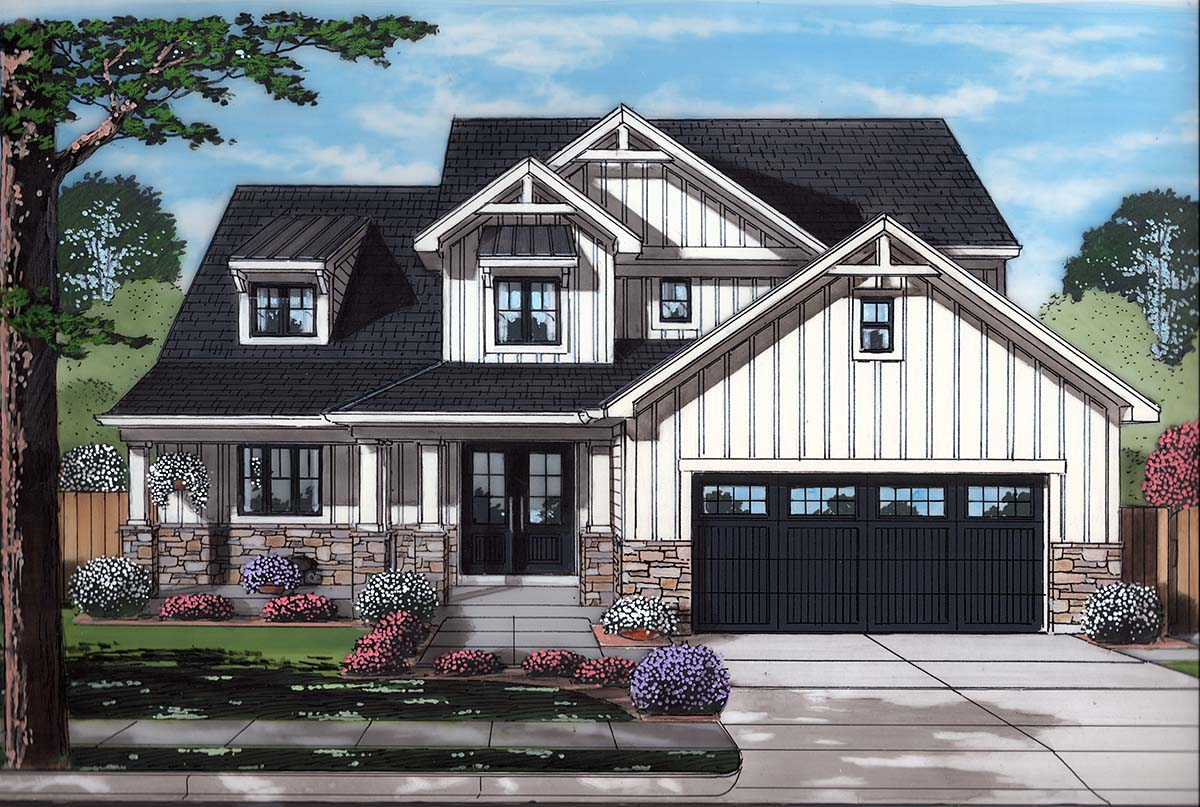 Country, Craftsman, European, Farmhouse House Plan 80608 with 4 Beds, 3 Baths, 2 Car Garage Elevation