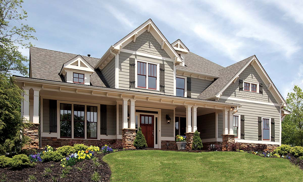 Country, Farmhouse, Southern, Traditional House Plan 80711 with 4 Beds, 3 Baths, 2 Car Garage Elevation