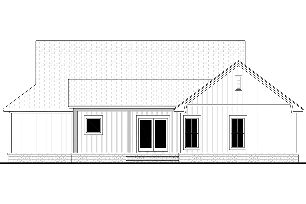 Cottage, Country, Farmhouse House Plan 80802 with 3 Beds, 2 Baths, 2 Car Garage Rear Elevation