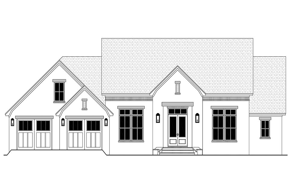 Farmhouse, French Country House Plan 80807 with 3 Beds, 2 Baths, 2 Car Garage Picture 3