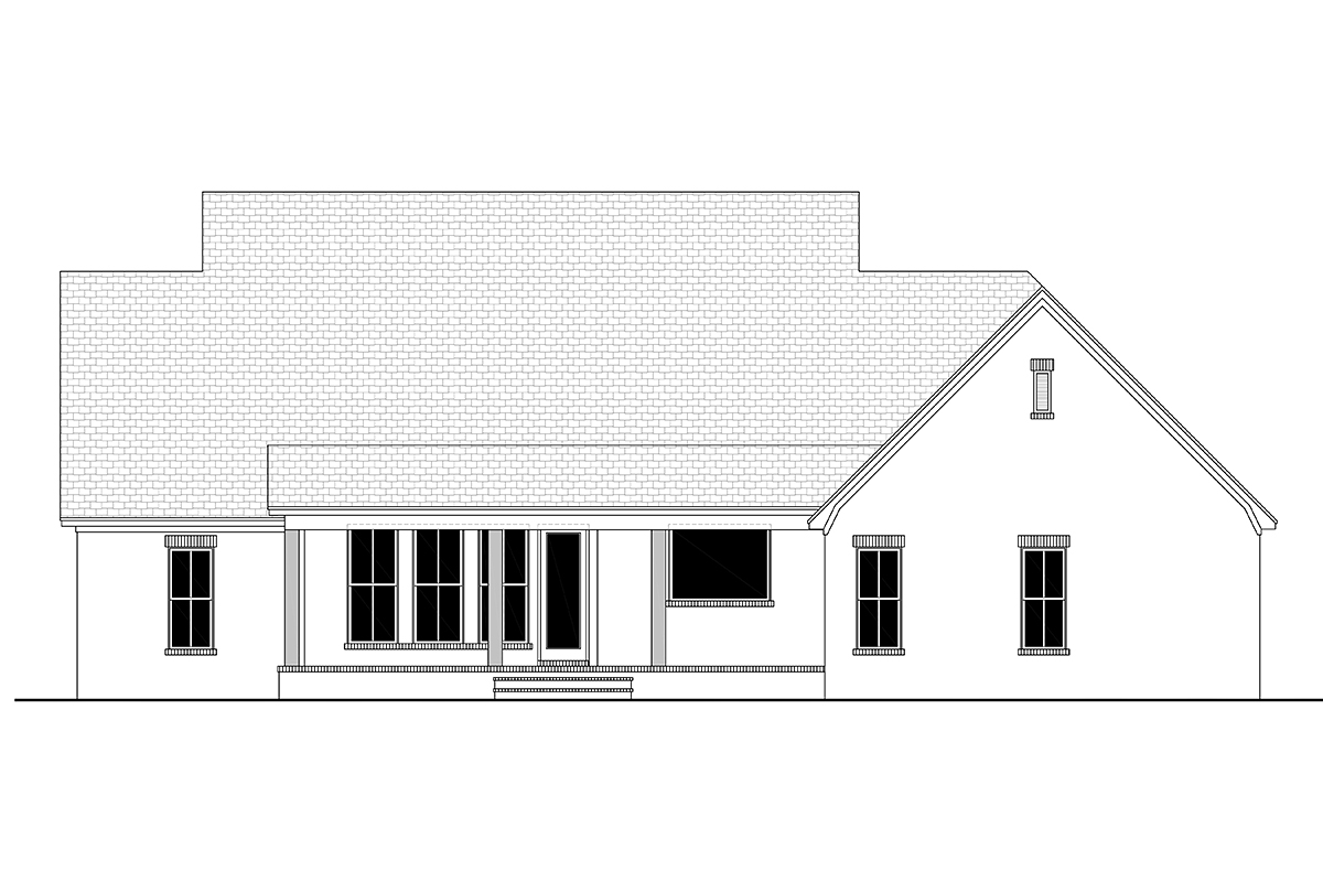 Farmhouse, French Country House Plan 80807 with 3 Beds, 2 Baths, 2 Car Garage Rear Elevation