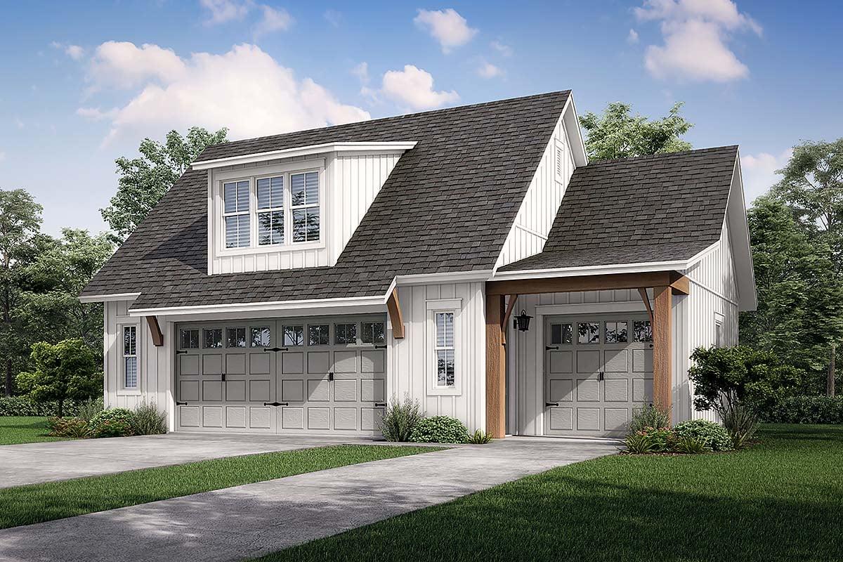 Cottage, Country, Craftsman, Farmhouse 3 Car Garage Apartment Plan 80808 Elevation