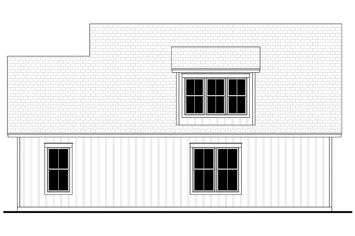 Cottage Country Craftsman Farmhouse Rear Elevation of Plan 80808