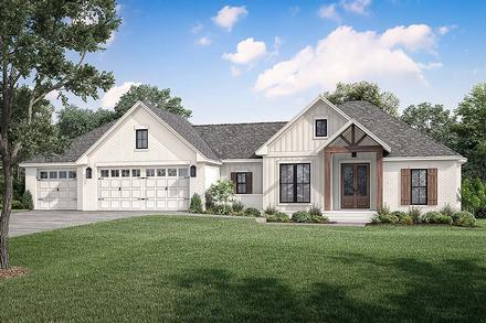 Country Farmhouse Traditional Elevation of Plan 80812