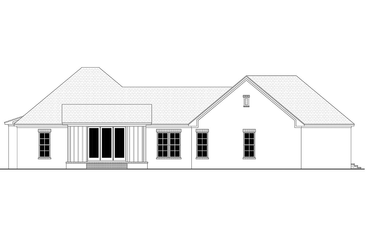 Country Farmhouse Traditional Rear Elevation of Plan 80812
