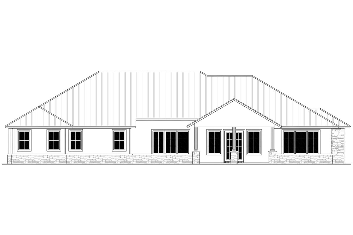 Country, Farmhouse, Ranch House Plan 80814 with 3 Beds, 4 Baths, 3 Car Garage Rear Elevation