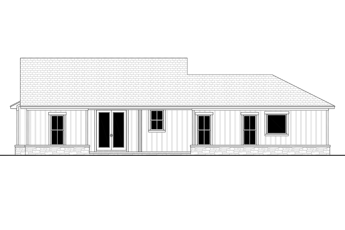 Bungalow Country Craftsman Farmhouse Ranch Rear Elevation of Plan 80818