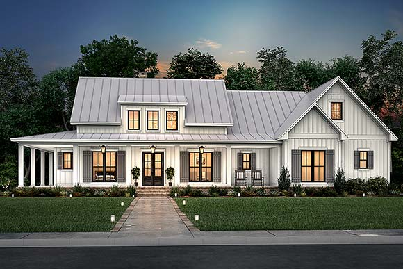 Country, Craftsman, Farmhouse, Traditional House Plan 80833 with 3 Beds, 3 Baths, 2 Car Garage Elevation