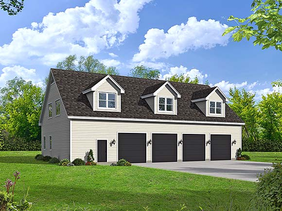 Country, Farmhouse, Ranch, Traditional Garage-Living Plan 80909 with 2 Beds, 3 Baths, 5 Car Garage Elevation