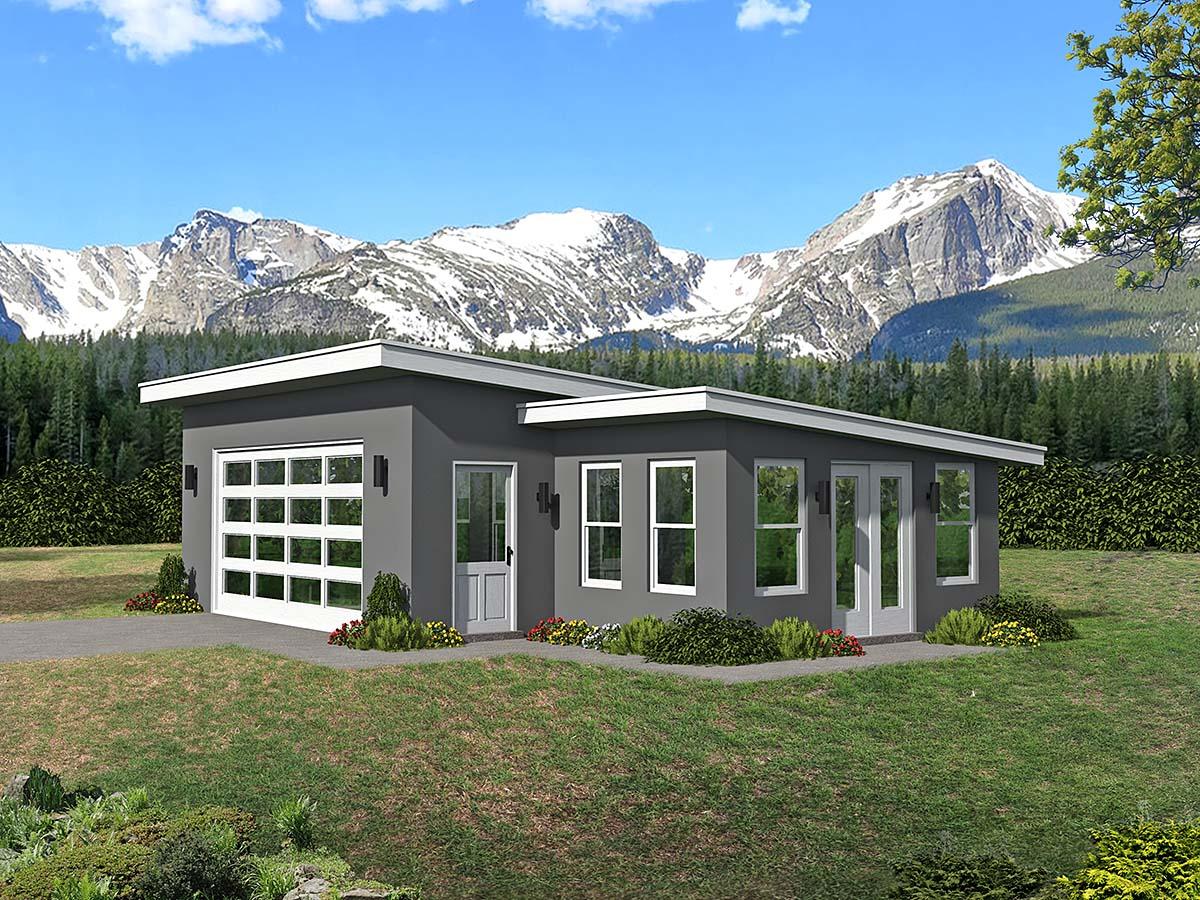 Contemporary 2 Car Garage Plan 80911 Elevation