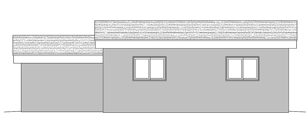 Contemporary Rear Elevation of Plan 80911
