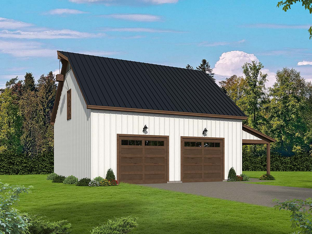 Country, Farmhouse, Ranch, Traditional 3 Car Garage Plan 80914 Elevation