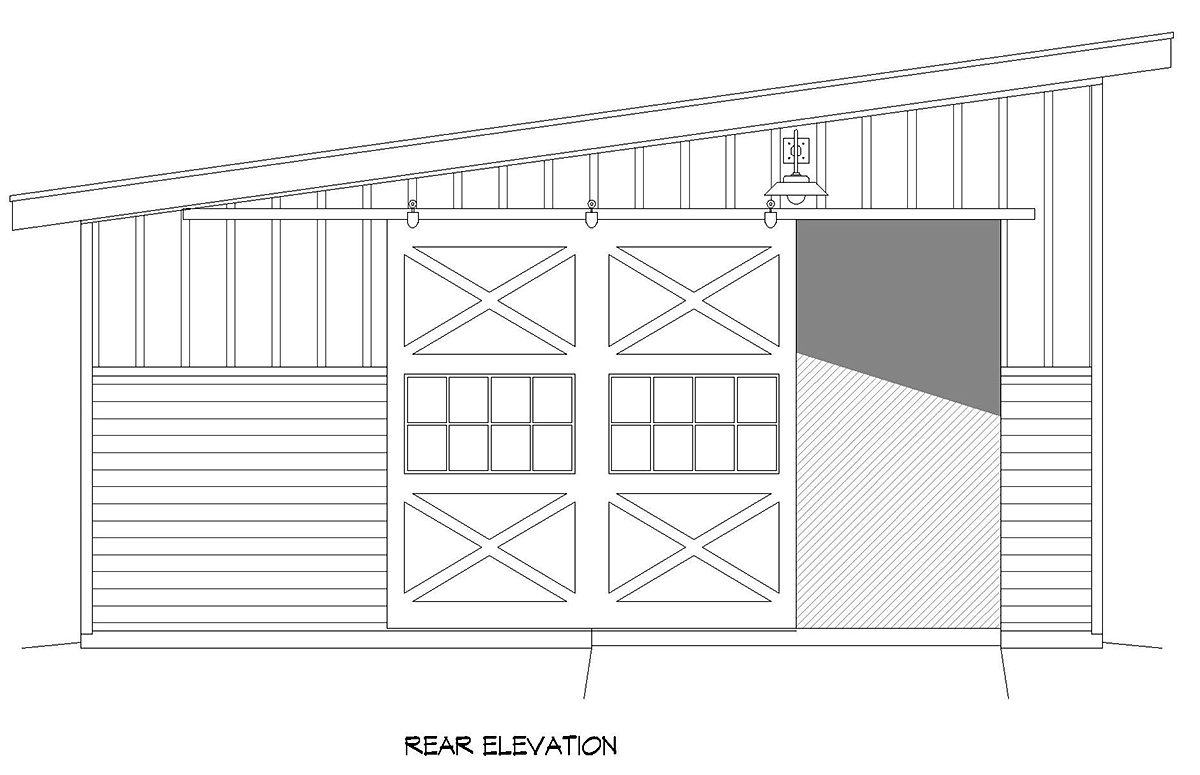 Modern Rear Elevation of Plan 80917
