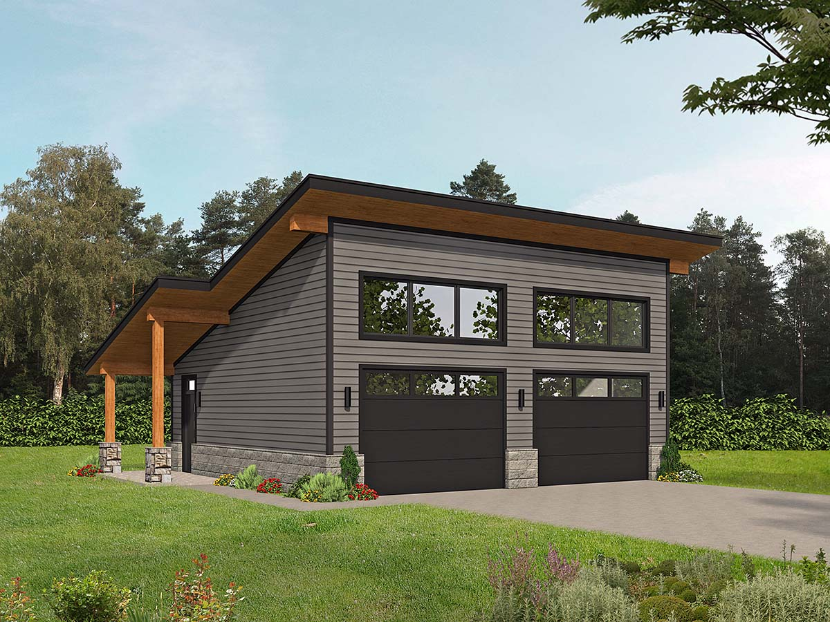 Coastal, Contemporary, Modern 2 Car Garage Plan 80924 Elevation