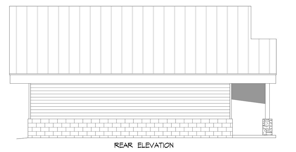 Coastal, Contemporary, Modern 2 Car Garage Plan 80924 Rear Elevation