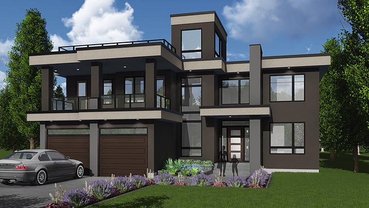 Contemporary, Modern House Plan 81184 with 3 Beds, 3 Baths, 3 Car Garage Elevation