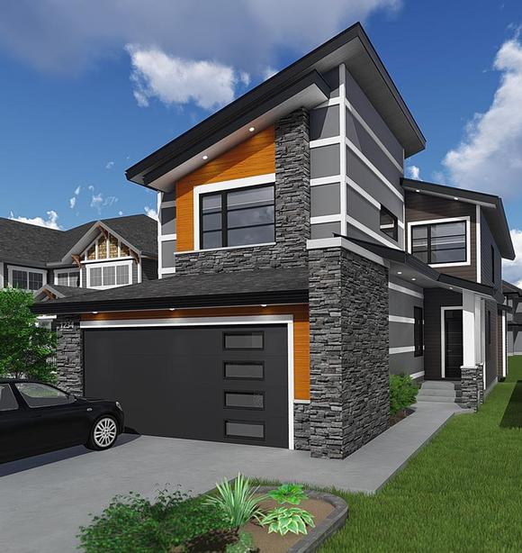 Contemporary, Modern House Plan 81186 with 3 Beds, 3 Baths, 2 Car Garage Elevation
