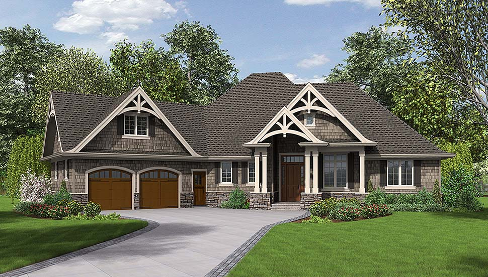 Craftsman Style House Plan 81204 with 3 Bed, 3 Bath, 2 Car Garage
