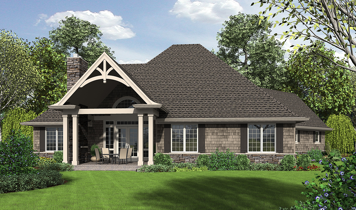 Country, Craftsman Plan with 2233 Sq. Ft., 3 Bedrooms, 3 Bathrooms, 2 Car Garage Rear Elevation
