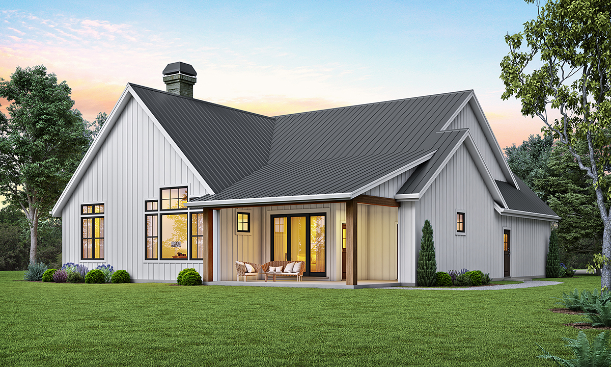 Country, Craftsman, Farmhouse House Plan 81205 with 3 Beds, 2 Baths, 2 Car Garage Rear Elevation