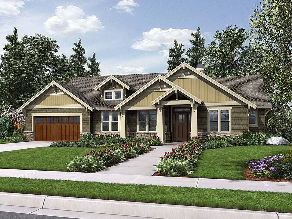 Bungalow style house plan 81206 with 3 bed 2 bath - How long to paint a 3 bedroom house ...