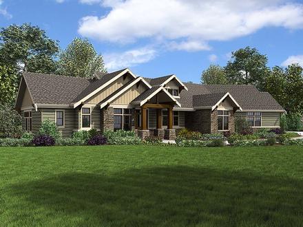 Craftsman, Ranch House Plan 81210 with 3 Beds, 3 Baths, 3 Car Garage