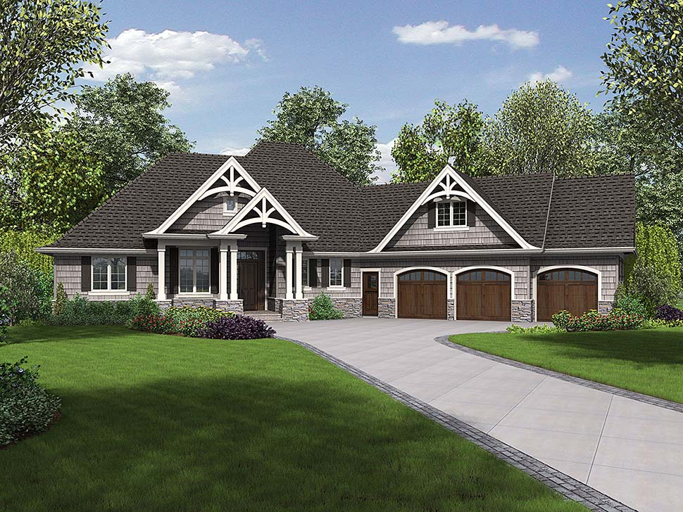 Craftsman House Plan 81218 with 3 Beds, 4 Baths, 3 Car Garage Elevation