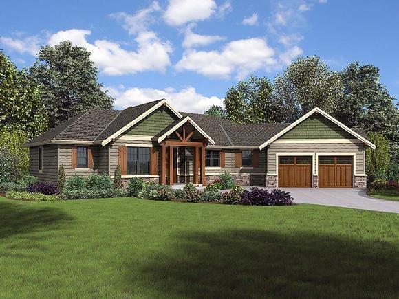 Craftsman, Ranch House Plan 81223 with 3 Beds, 3 Baths, 2 Car Garage Elevation