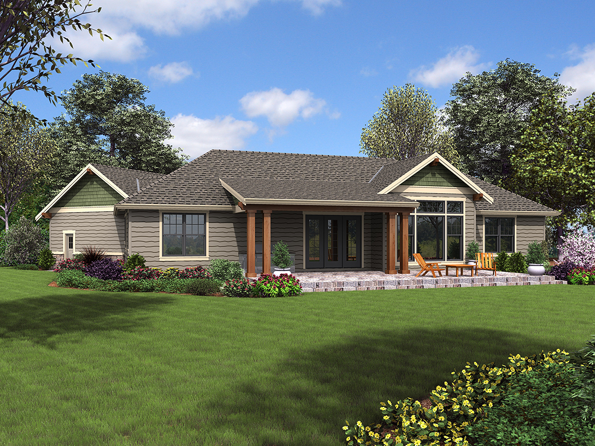Craftsman Ranch Rear Elevation of Plan 81223