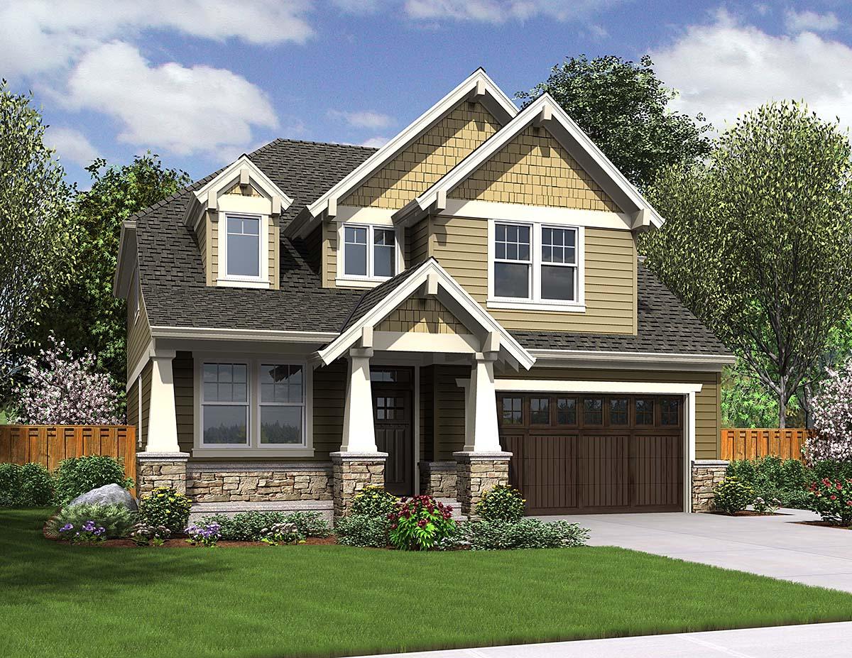 Cottage, Craftsman House Plan 81228 with 4 Beds, 3 Baths, 2 Car Garage Elevation