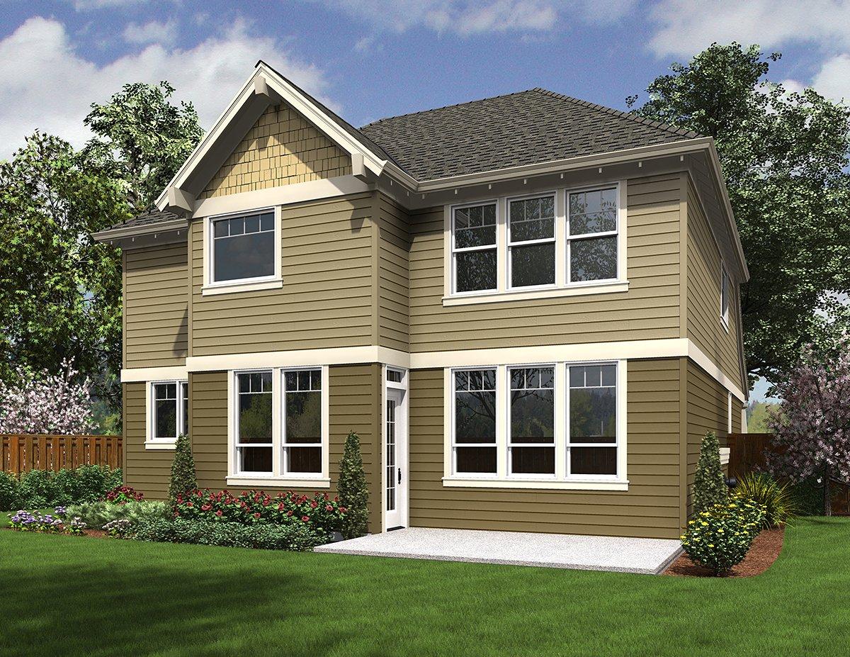 Cottage Craftsman Rear Elevation of Plan 81228