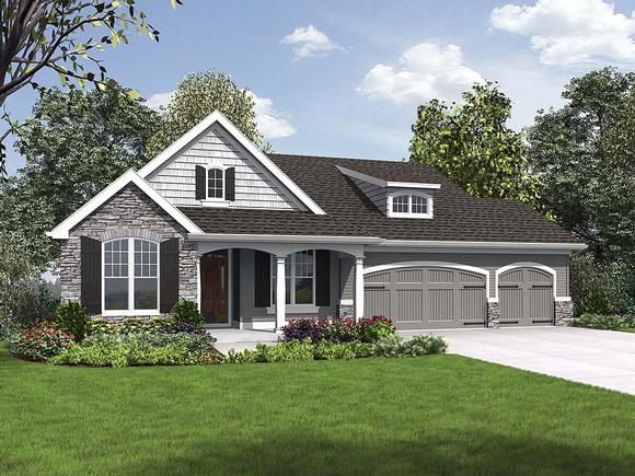 Craftsman, Ranch House Plan 81230 with 5 Beds, 3 Baths, 3 Car Garage Elevation