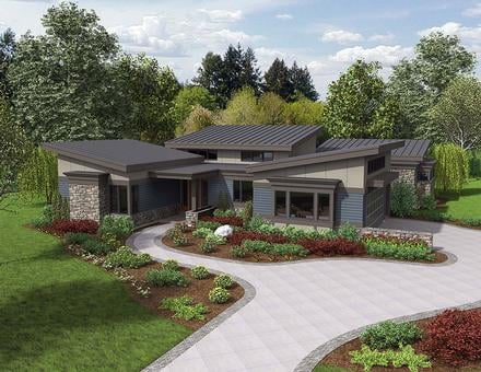 Contemporary Modern Elevation of Plan 81235