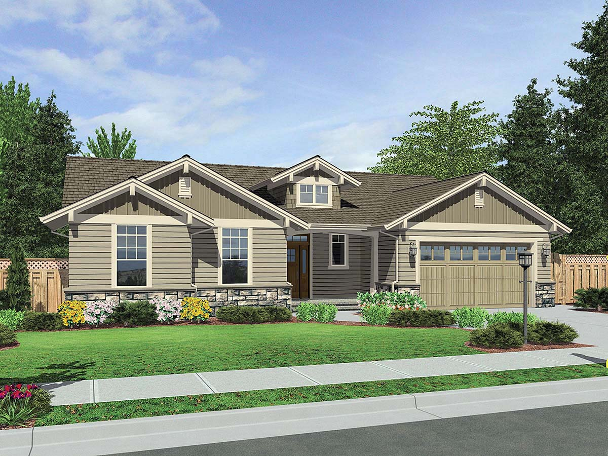 Craftsman House Plan 81237 with 2 Beds, 2 Baths, 3 Car Garage Elevation